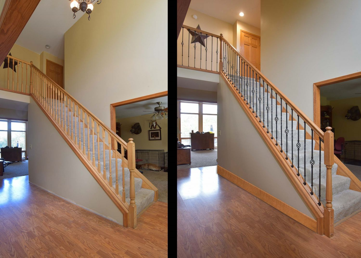 Before And After  Ole Iron Slides Adjustable Balusters
